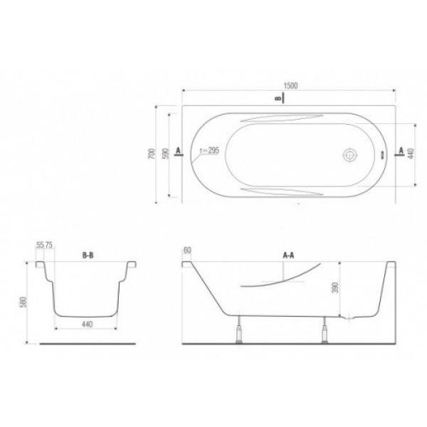 Акриловая ванна Cersanit Mito Red 160x70 (сифон)