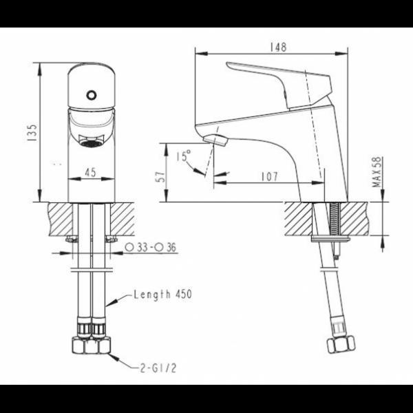 Смеситель для умывальника Bravat DROP F14898C-1
