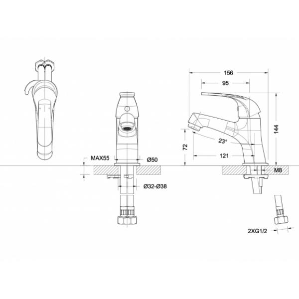 Смеситель для умывальника Bravat FIT F1135188CP-RUS