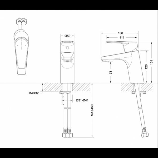 Смеситель для умывальника Bravat LINE F15299C-1