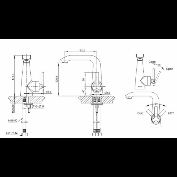 Смеситель для умывальника Bravat WATERFALL F173107C-1