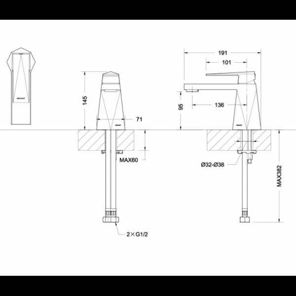 Смеситель для умывальника Bravat ICEBERG F176110C
