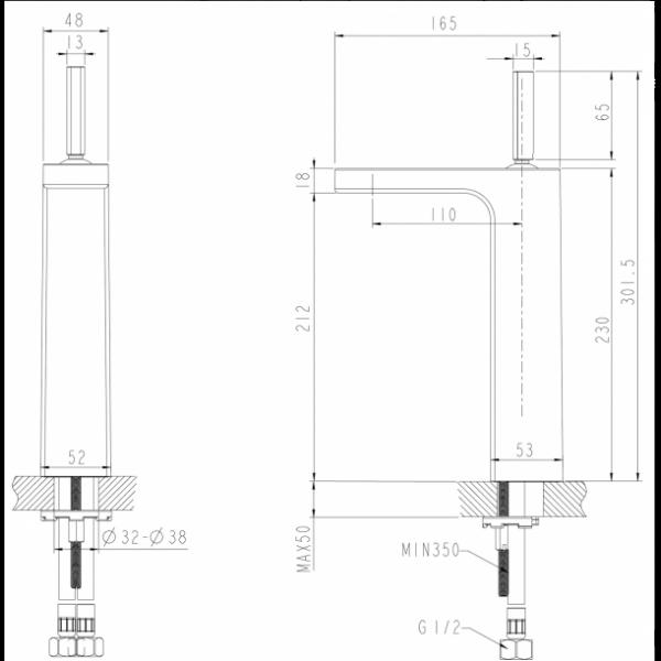 Смеситель для умывальника Bravat SPRING F179113C-A