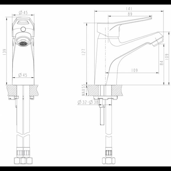 Смеситель для умывальника Bravat ECO-D F193158C