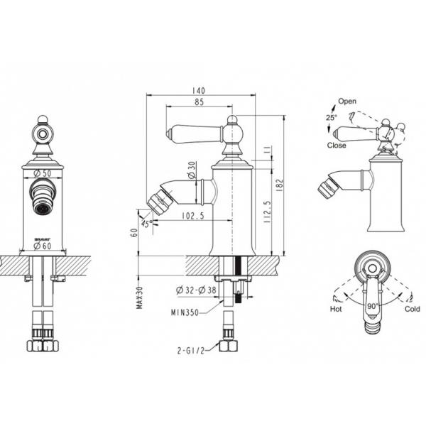 Смеситель для биде Bravat ART-RIVER F375109C