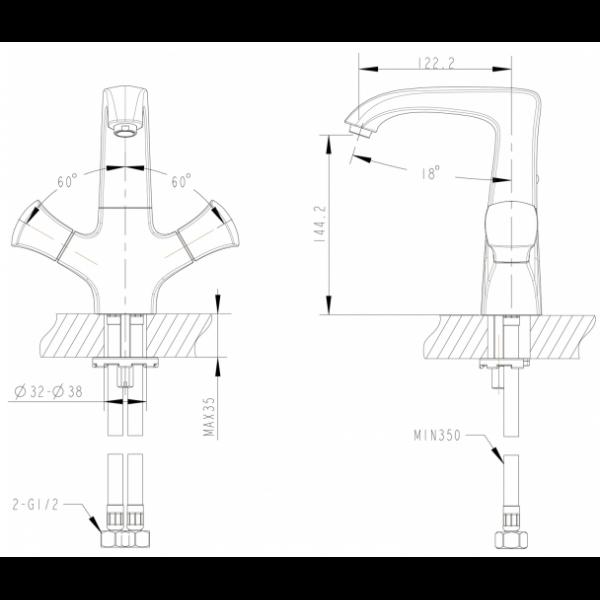 Смеситель для умывальника Bravat WHIRPOOL F178112C