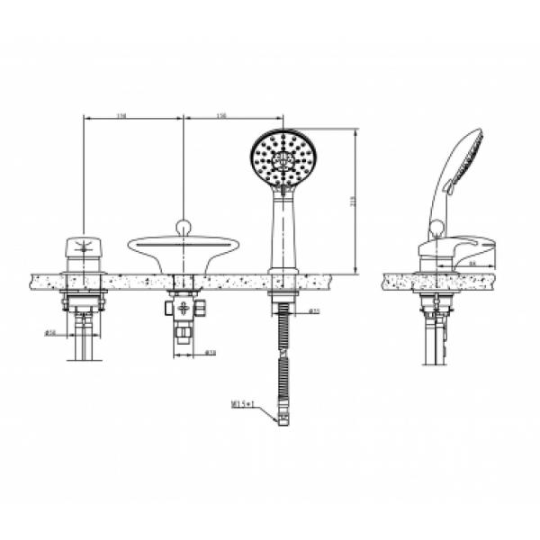 Смеситель на борт ванны на 3 отверстия Bravat BATHTUB FAUCET-CASCADE F5140197CP-1-RUS