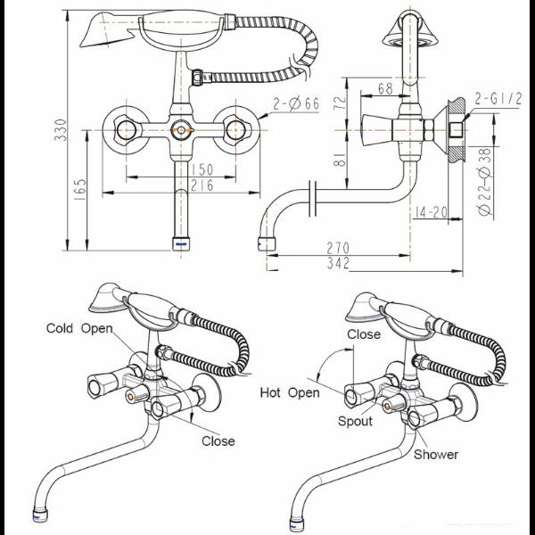 Смеситель для ванны с длинным изливом Bravat DUO F6133186CP-LB-RUS