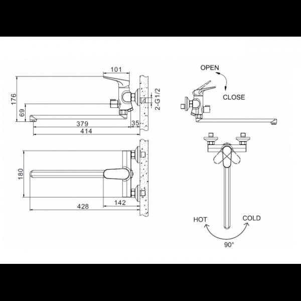 Смеситель для ванны с длинным изливом Bravat ELER F6191238CP-01L-RUS