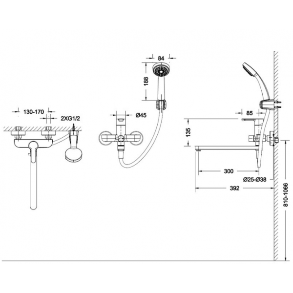 Смеситель для ванны с длинным изливом Bravat STREAM F63783C-L
