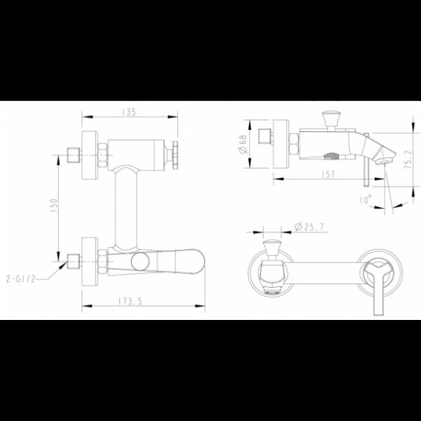 Смеситель для ванны с коротким изливом Bravat WATERFALL F673107C-01
