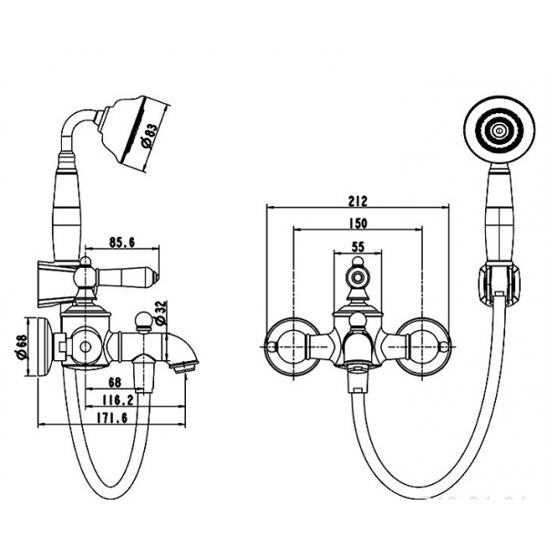 Смеситель для ванны с коротким изливом Bravat ART RIVER F675109U-B