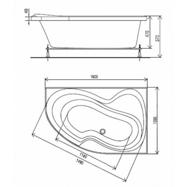 Акриловая ванна ARTEL PLAST Валерия 160x105 (сифон)