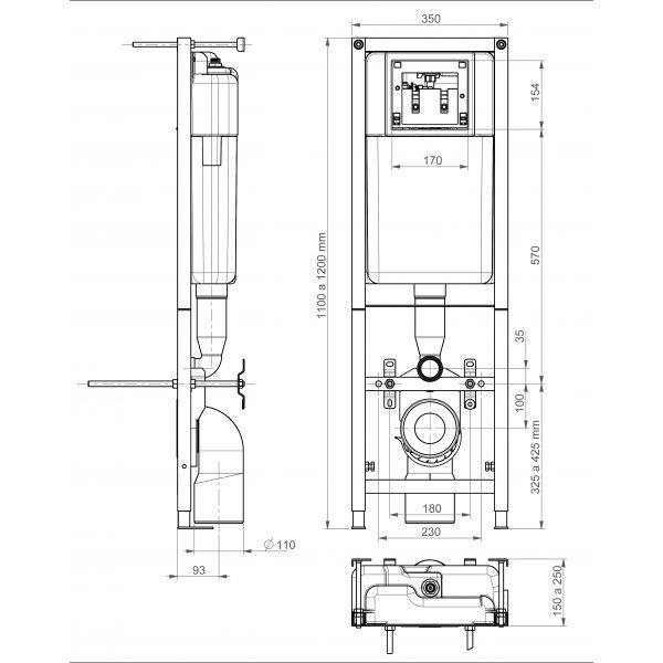 Комплект для инсталляции Cersanit Leon New с унитазом Delfi