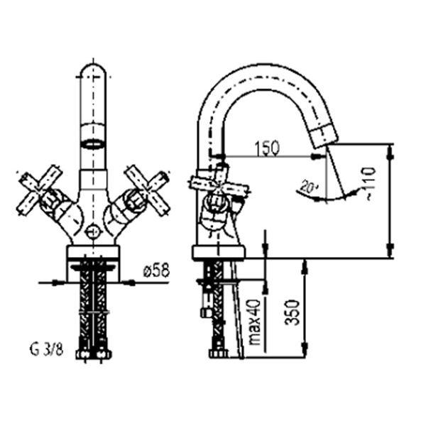 Смеситель для умывальника Armatura Symetric 342-315-00