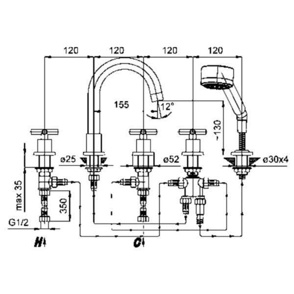 Смеситель на борт ванны на 5 отверстий Armatura Symetric 345-510-00