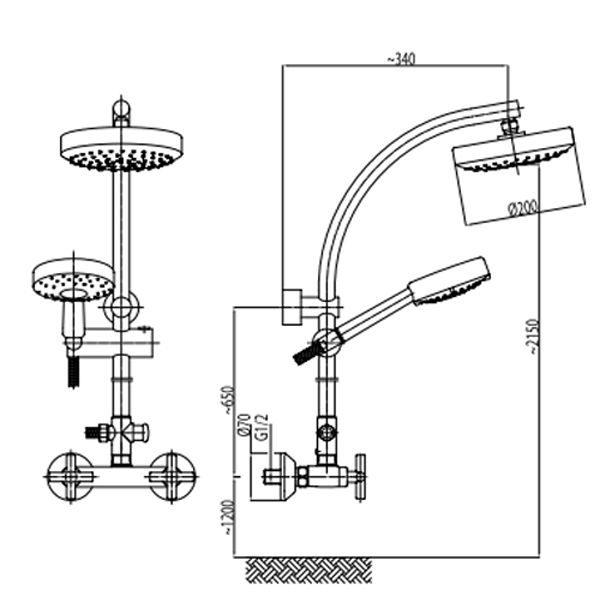 Душевая стойка Armatura Duna со смесителем Armatura Symetric 346-910-00
