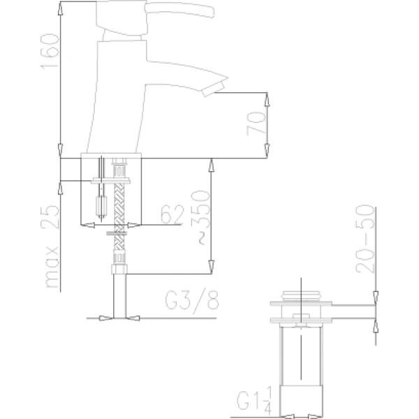 Смеситель для умывальника Armatura Diament 4102-811-00