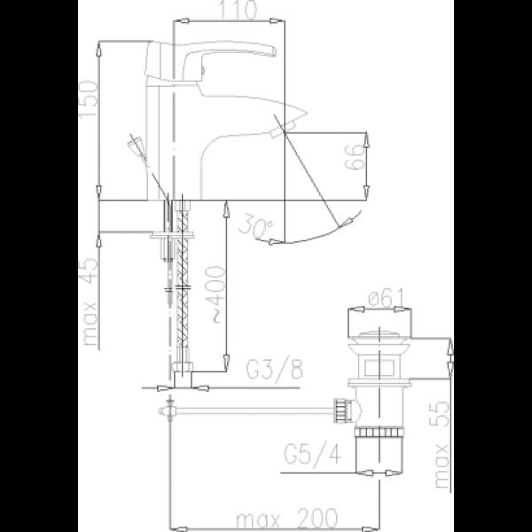 Смеситель для умывальника Armatura Kwarc 4202-815-00