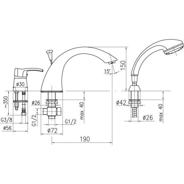 Смеситель на борт ванны на 3 отверстия Armatura Kwarc 4205-210-00