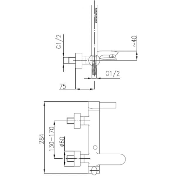 Смеситель для ванны Armatura Malachit 4404-510-00