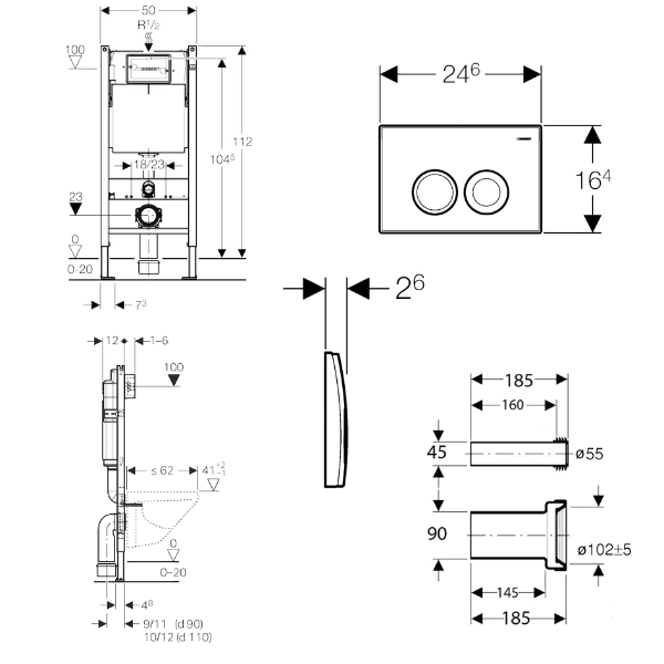 Комплект инсталляции Geberit Duofix + панель смыва Delta 21 + унитаз Kolo Idol