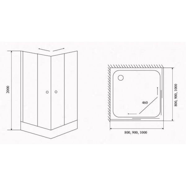 Душевой уголок Timo TL-8002 Fabric 80x80