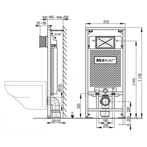 Комплект для инсталляции 5 в 1 AlcaPlast с кнопкой M70