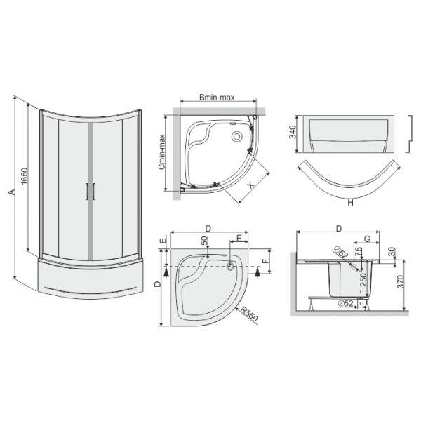 Душевой уголок Sanplast kpl-KP4/TX5b-90/165-S 90x90 W15 с GLASS PROTECT