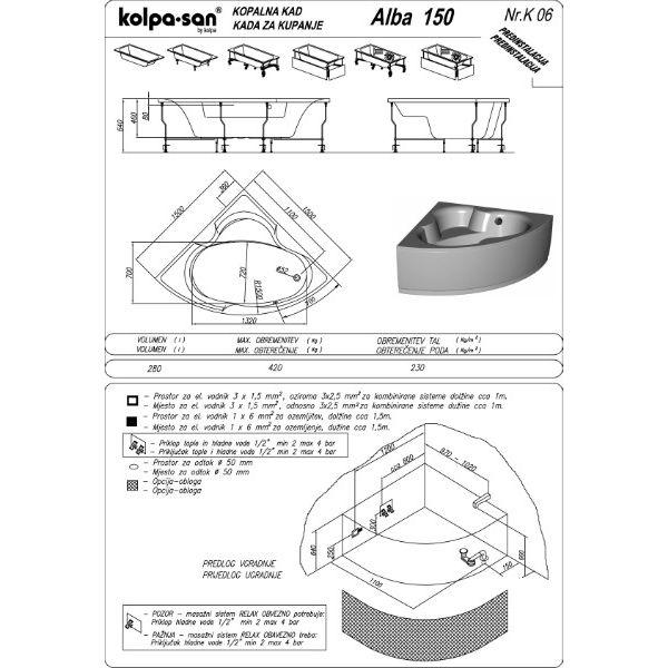 Акриловая ванна Kolpa-san Alba 150x150 (сифон автомат)