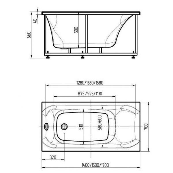 Акриловая ванна Aquatek Альфа 140х70 (сифон)