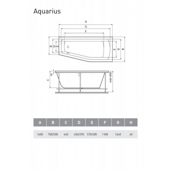 Акриловая ванна Relisan Aqaurius 160x70 (сифон автомат)