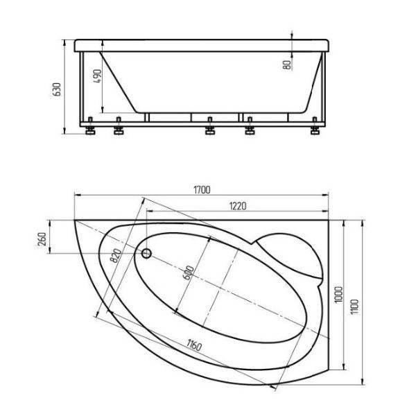 Акриловая ванна Aquatek Аякс 2 170х110 (сифон)