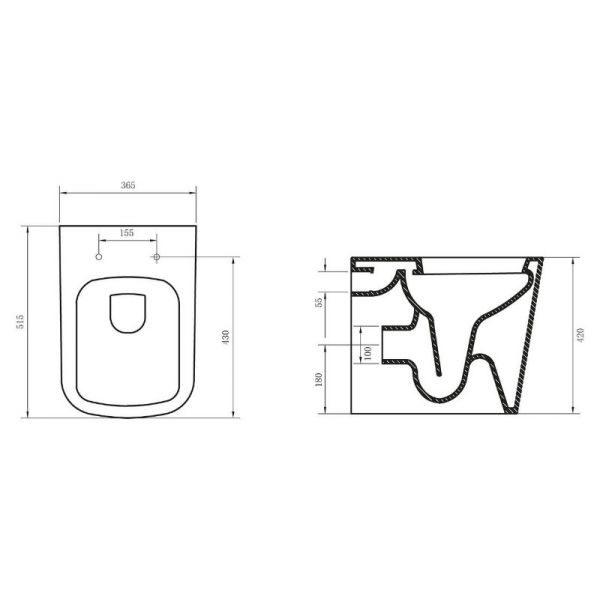 Приставной унитаз BelBagno Albano P-trap безободковый