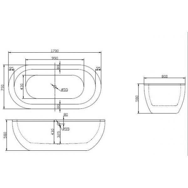 Отдельностоящая ванна BelBagno BB13-1700 (сифон автомат)