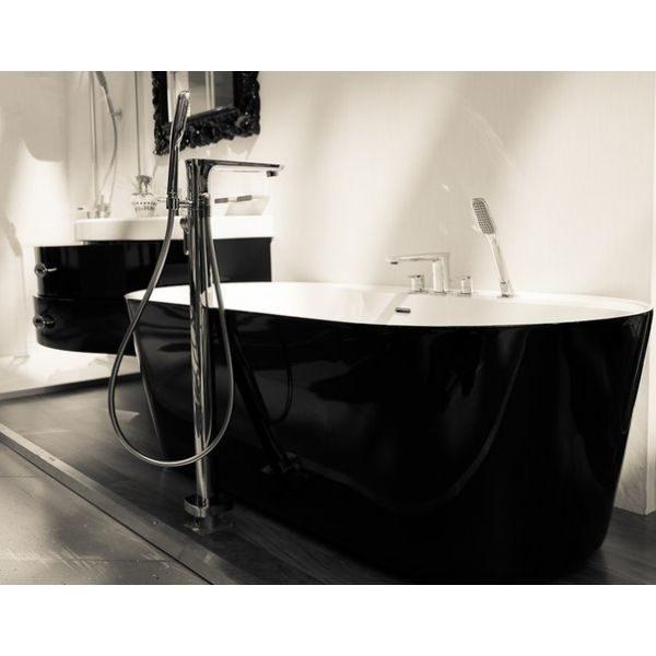Отдельностоящая ванна BelBagno BB14-NERO/BIA (сифон автомат)