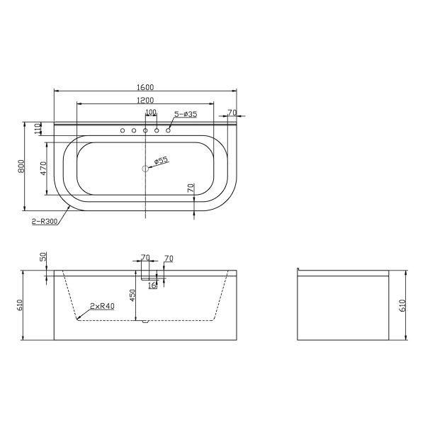 Отдельностоящая ванна BelBagno BB31-1600 (сифон автомат)