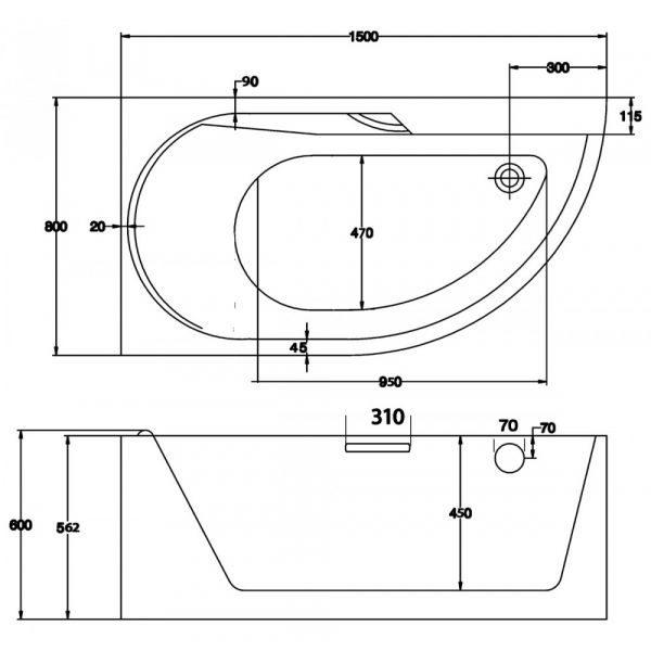 Отдельностоящая ванна BelBagno BB44-1500-L (сифон автомат)
