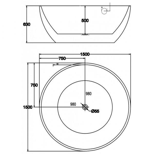 Отдельностоящая ванна BelBagno BB46-1500-MARINE (сифон автомат)