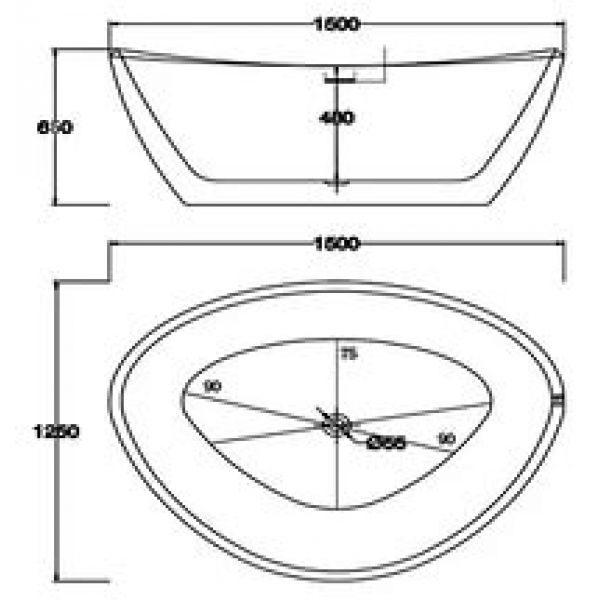 Отдельностоящая ванна BelBagno BB47-1500 (сифон автомат)