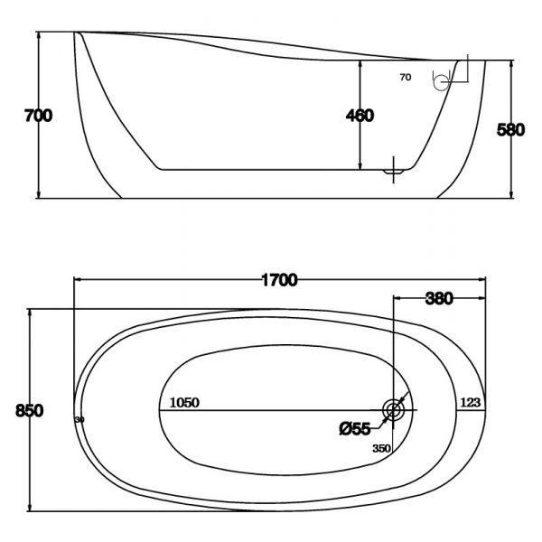 Отдельностоящая ванна BelBagno BB50-1700 (сифон автомат)
