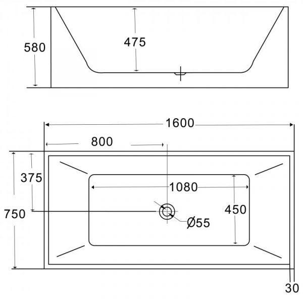 Отдельностоящая ванна BelBagno BB56-1600 (сифон автомат)