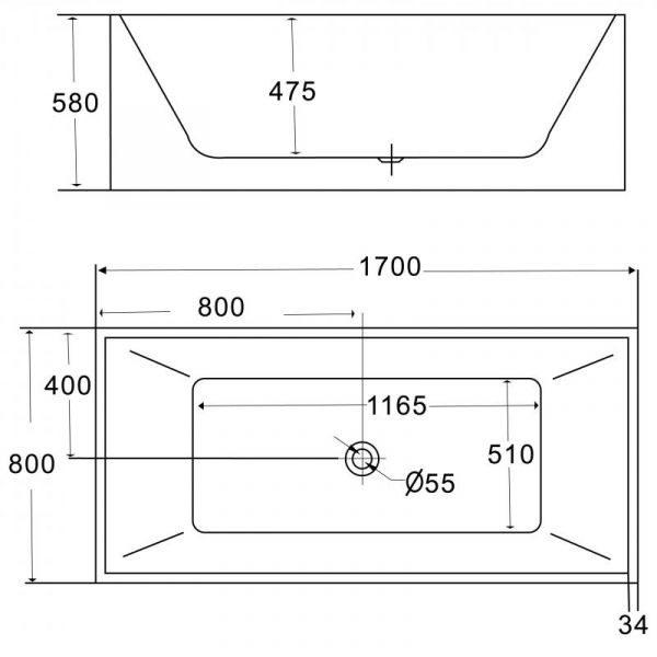 Отдельностоящая ванна BelBagno BB56-1700 (сифон автомат)