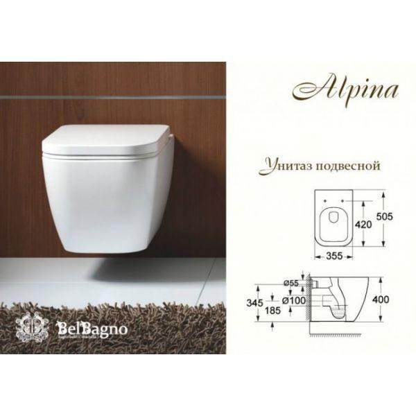 Подвесной безободковый унитаз BelBagno Alpina