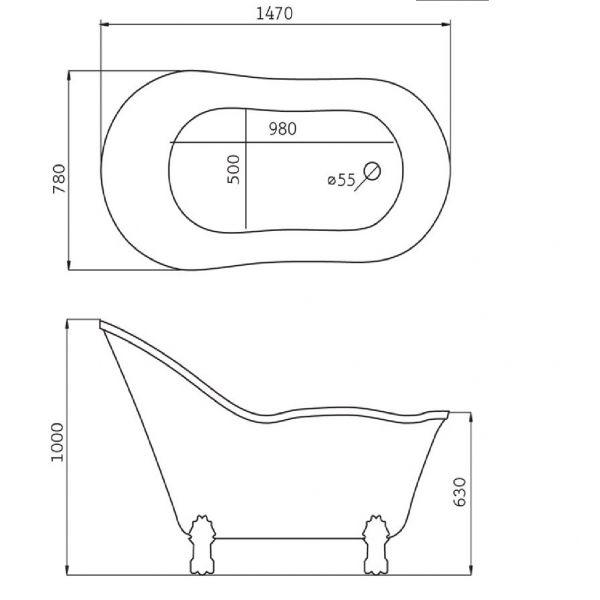 Отдельностоящая ванна BelBagno BB08 (сифон автомат)