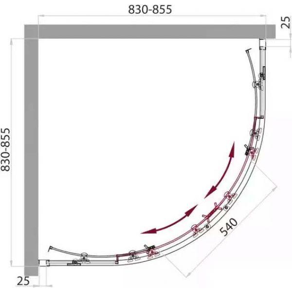 Душевой уголок Belbagno SELA R-2 85х85