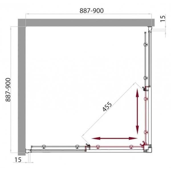 Душевой уголок Belbagno UNO GL-A-2 90х90 с поддоном