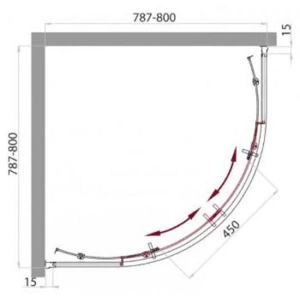 Душевой уголок Belbagno UNO R-2 80х80
