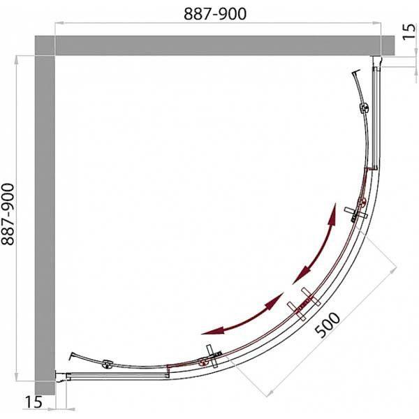 Душевой уголок Belbagno UNO GL-R-2 90х90 с поддоном