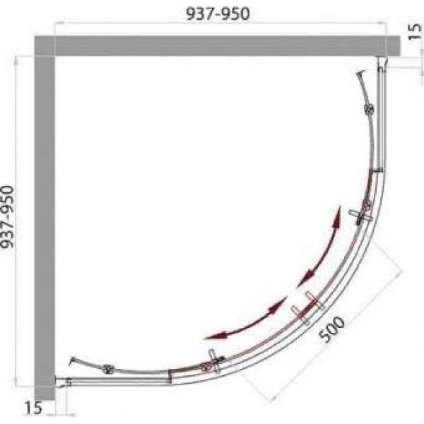 Душевой уголок Belbagno UNO R-2 95х95